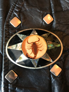 Vintage Scorpion and Abalone Belt Buckle