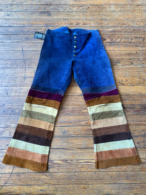 Vintage 70's Multi-Colored Suede Flare Pants