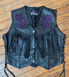 Leather King Concho & Purple Rose Fringe Biker Vest
