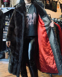 Vintage Dark Brown Faux Fur Full Length Coat