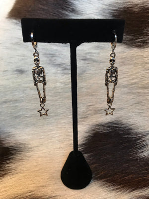 Skeleton and Star Dangle Earrings