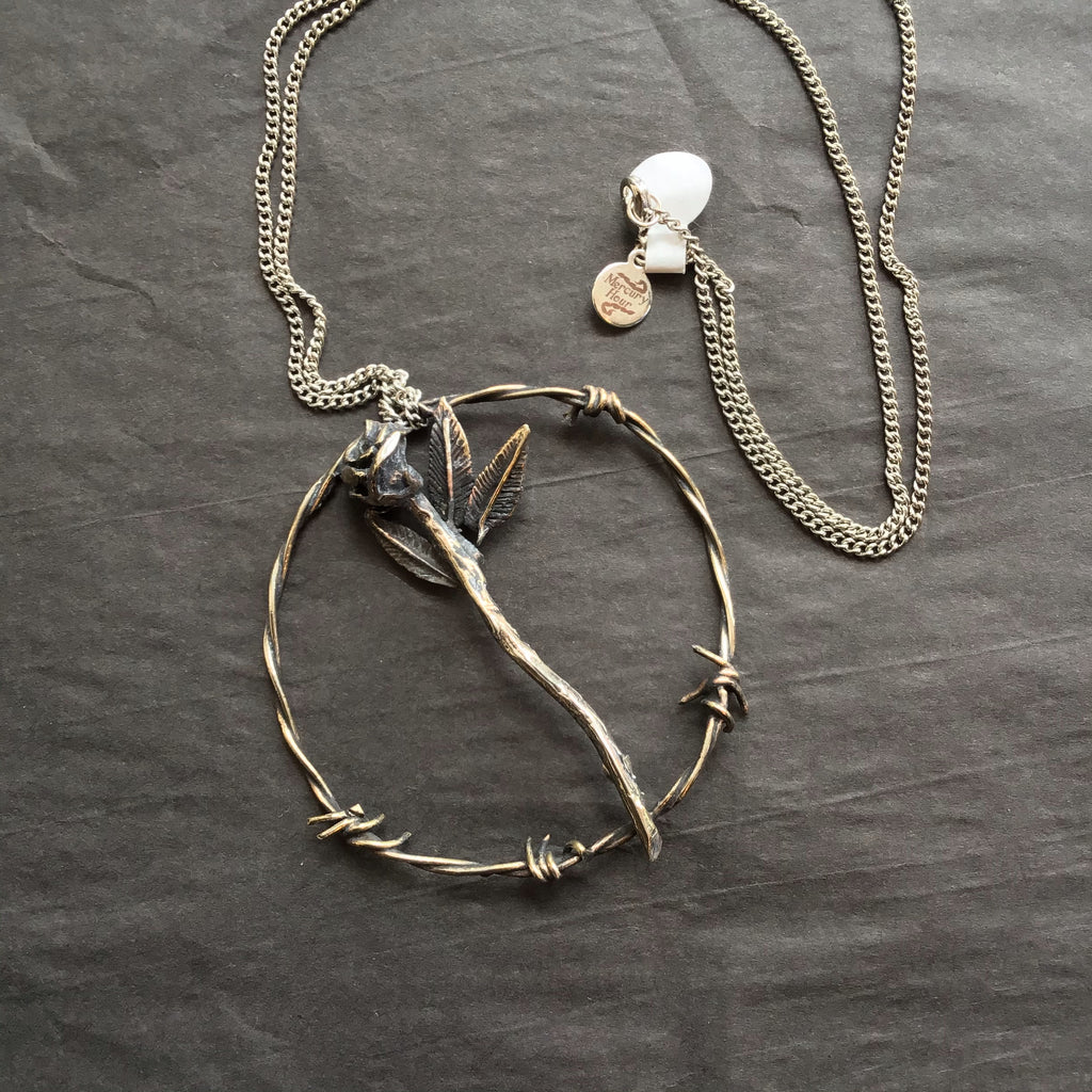 Mercury Hour Barbed Wire & Rose Pendant Necklace