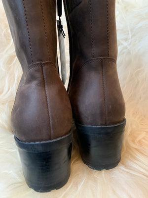 Tommy Hilfiger Brown 90s Zip Up Chunky Heel Boots