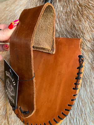 Handmade Vintage Tan Leather Belt Pouch