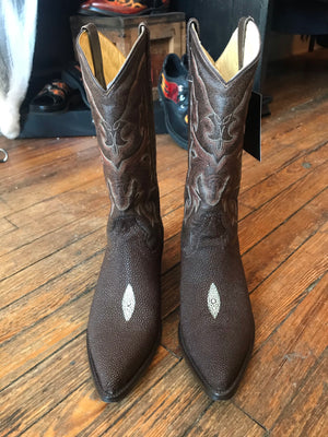 Vintage Safari Exotic Leather Stingray Cowboy Boots