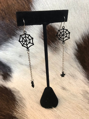 Spider Web Dangle Earrings