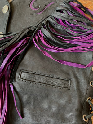 Vintage Black and Purple Leather Fringe Biker Vest
