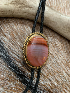 Black and Gold Bolo Tie with Agate Cabochon