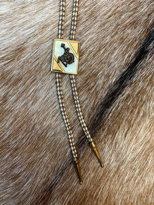 Gold and Mother-of-Pearl Rodeo Bolo Tie