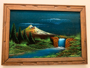Vintage Mountainscape Velvet Painting