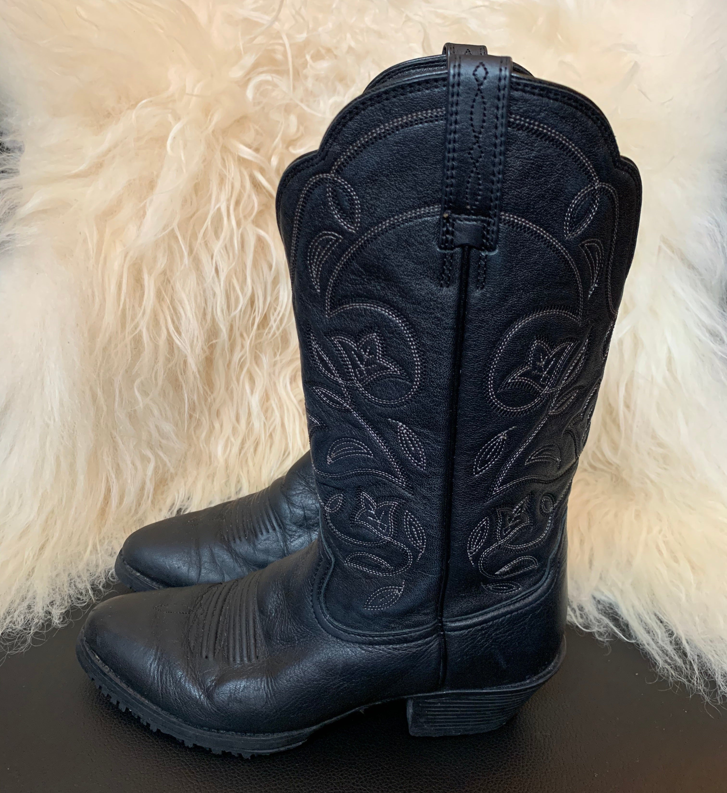 Black Ariat Cowboy Boots with Floral Motif