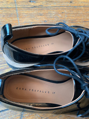 Brand New Zara Black Patent Leather Platform Creepers