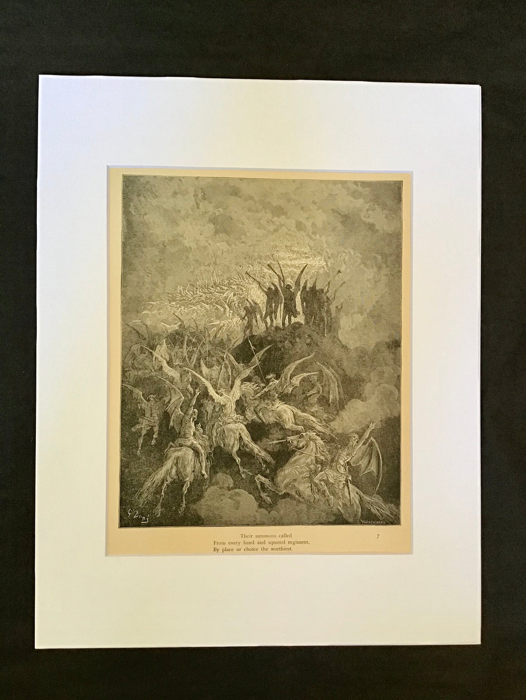 Gustave Doré Matted Print- For Miltons Paradise Lost- Book I Lines 757-759