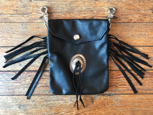 Trippy Tree Black Leather Concho Belt Bag