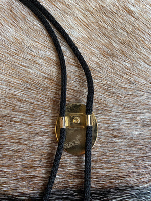 Black and Gold Indigenous Native American Portrait Bolo Tie