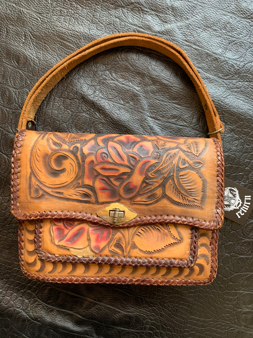 Vintage Mexican Decorative Hand Tooled Adjustable Shoulder Bag