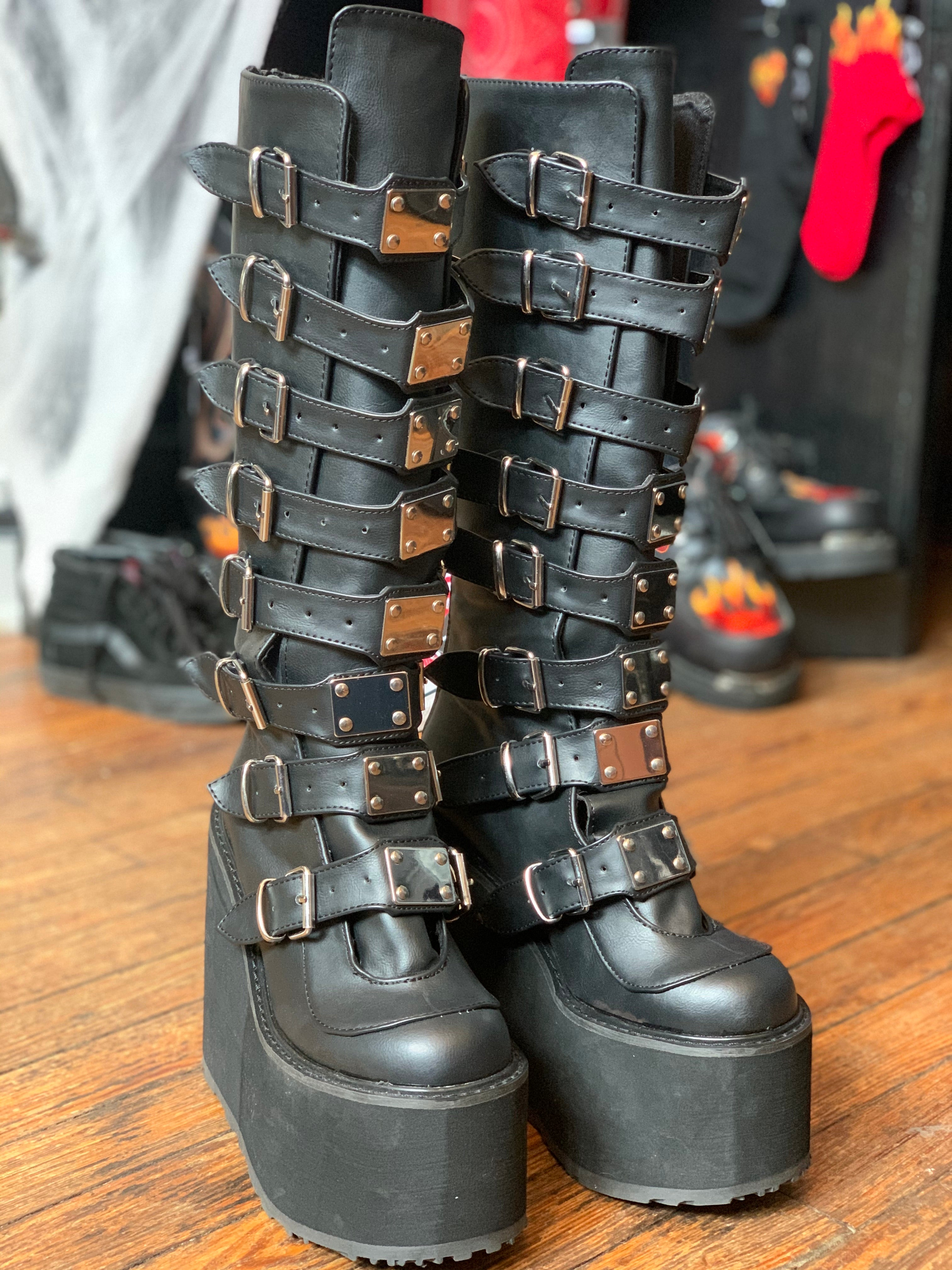 Demonia Tall Swing-815 Multi-Buckle Knee High Goth Boots