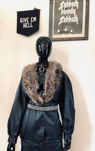 Vintage 80's J Percy For Marvin Richards Fur Collar Leather Coat