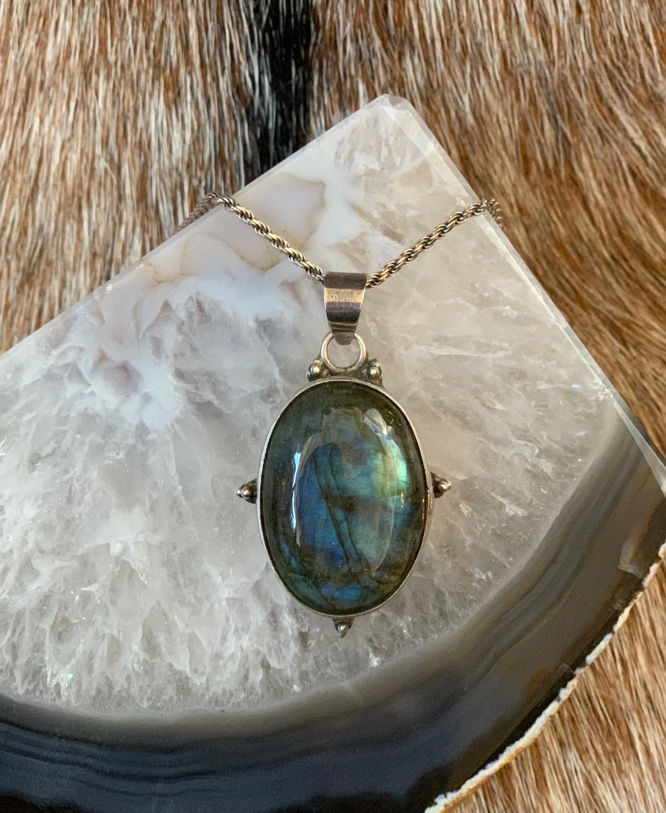 Long Sterling Silver Labradorite Pendant Necklace