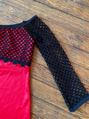 Red and Black Fishnet and O-Ring Top