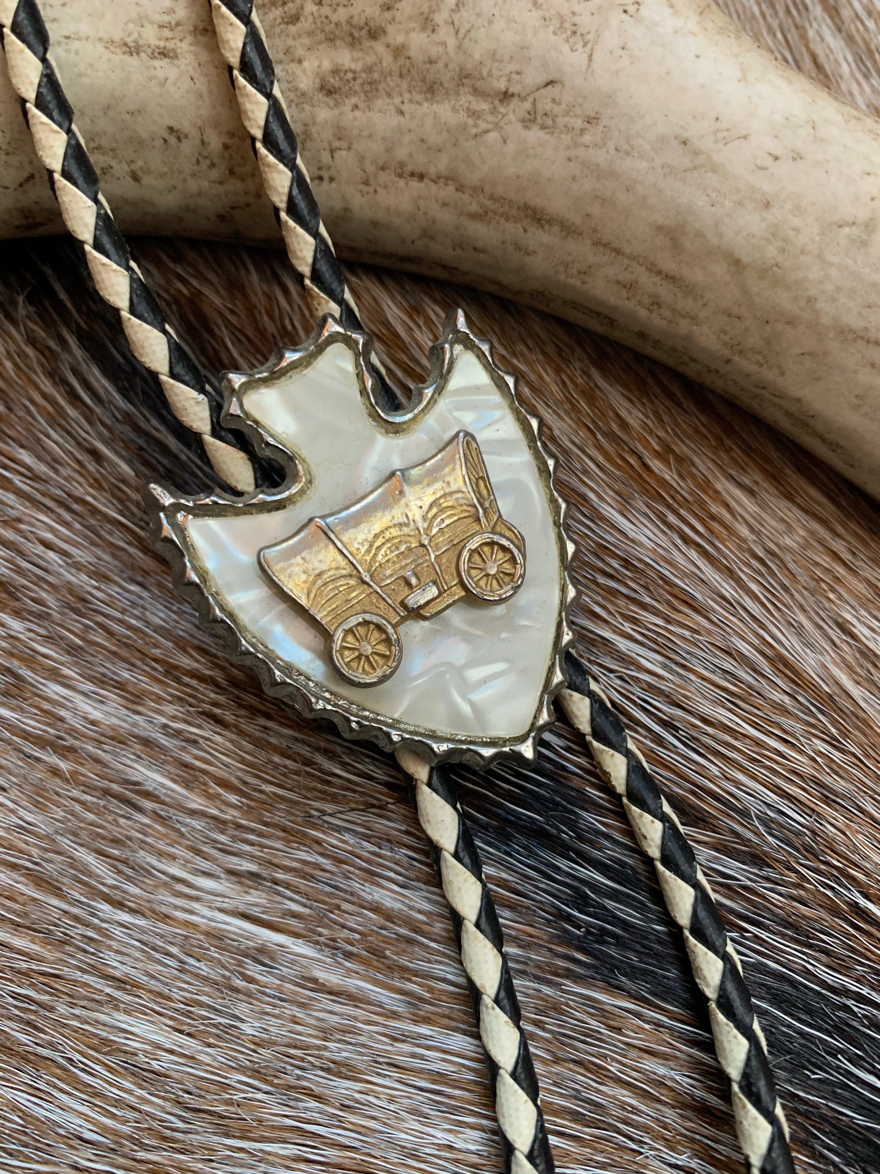 Mother-of-Pearl Wagon Bolo Tie
