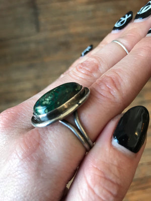 Dark Green Turquoise Ring