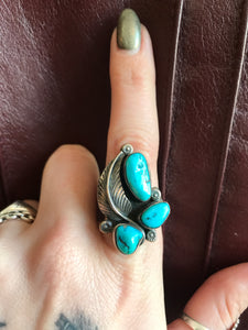 Beautiful Three Stone Turquoise Sterling Ring