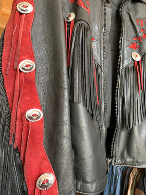 Red and Black Rose Leather Concho Fringe Moto Jacket