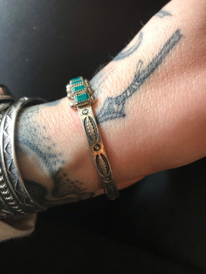 Vintage Sterling Turquoise Cuff