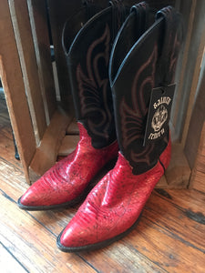 Black and Red Snakeskin Cowboy Boots