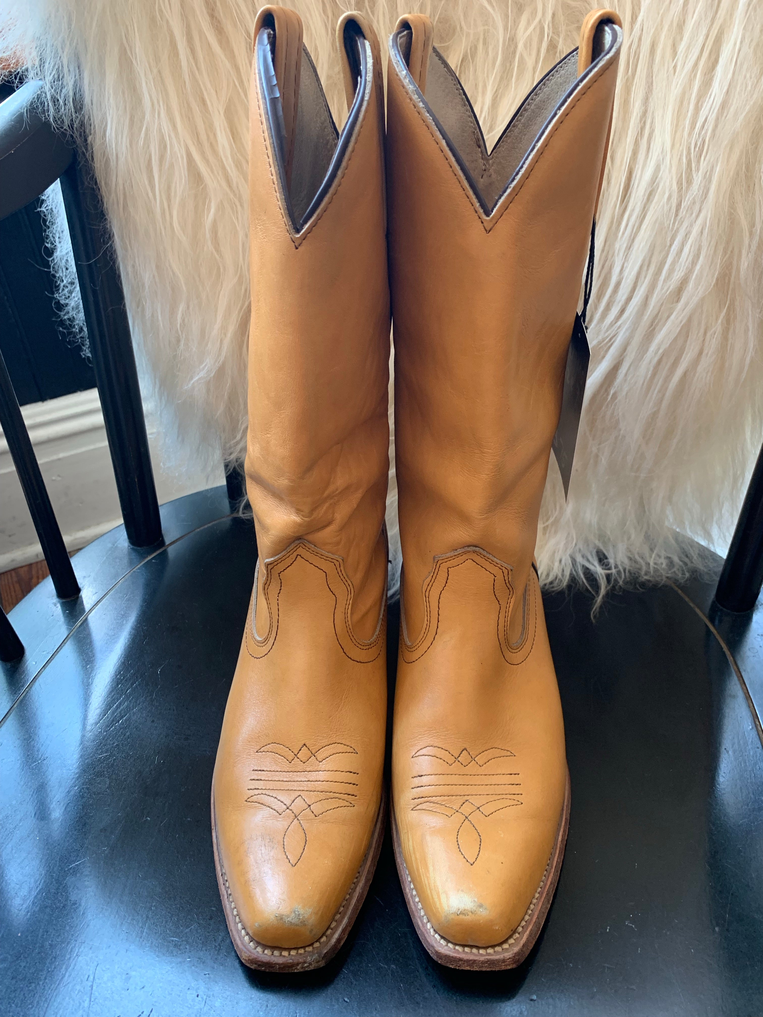 Golden Tan Frye Western Boots