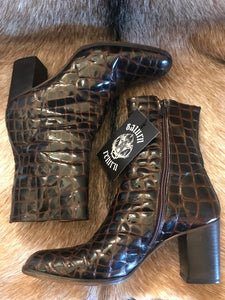 Vintage Leather Croc Ankle Boots