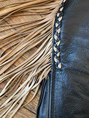 BADASS Black and Tan Fringe Leather Moto Jacket