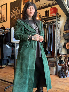 WILD WEST Emerald Suede Fringe Duster