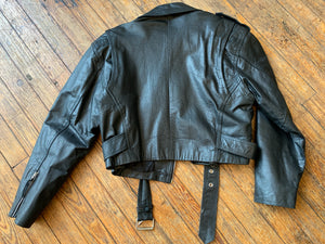 Vintage Cropped Black Leather Moto Jacket