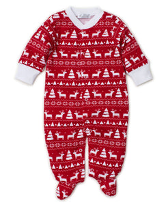 Pjs Christmas Deer Footie PRT - Red