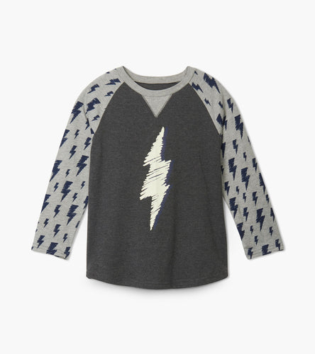 Lightning Bolts Raglan Tee - Charcoal Grey Melange