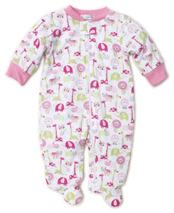 Jazzy Jungle Footie With Zip Pink