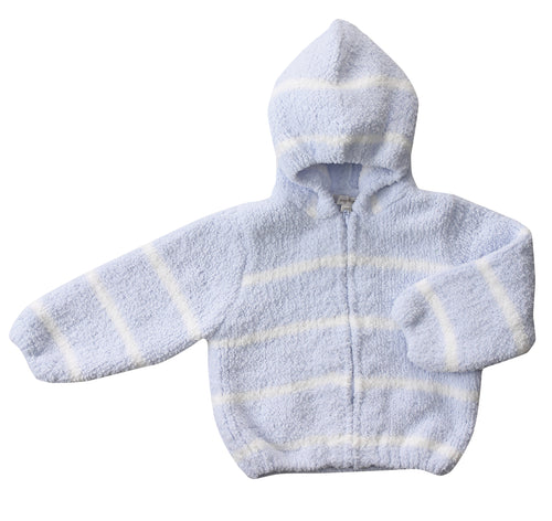 Light Blue & Ivory Hooded Chenille Jacket