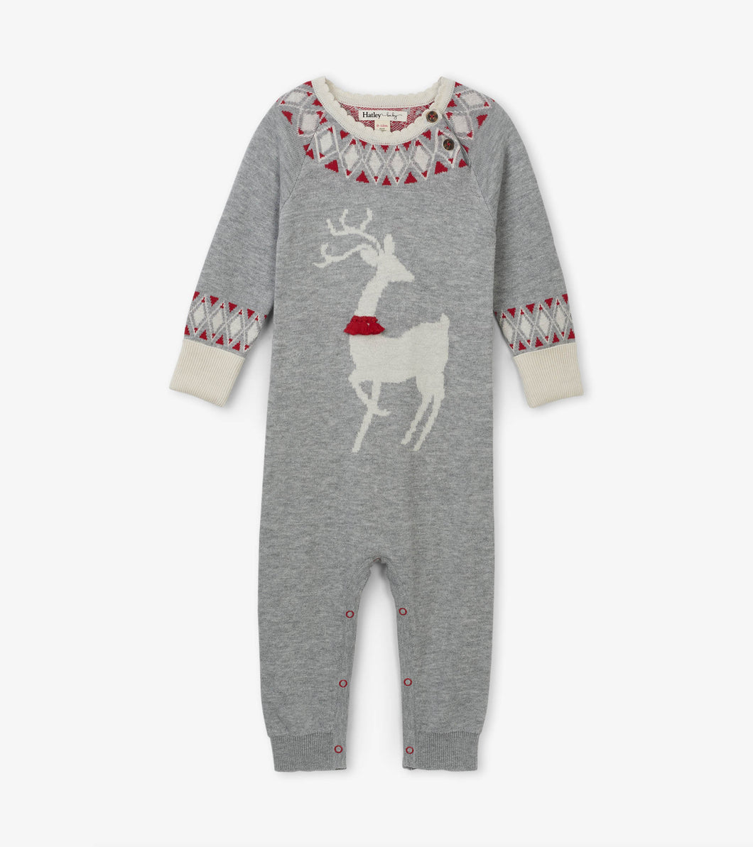 Mistletoe Deer Baby Sweater Romper
