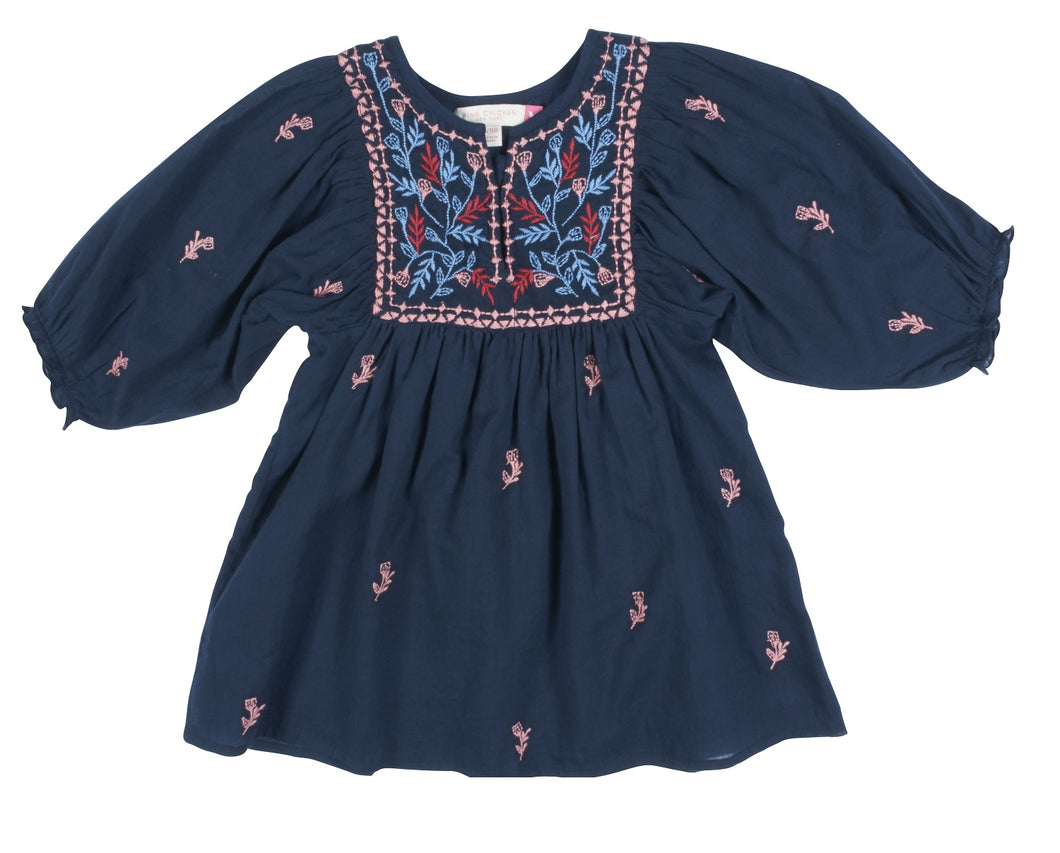 Ave Bella Dress - Dress Blues w/Multi Embroidery