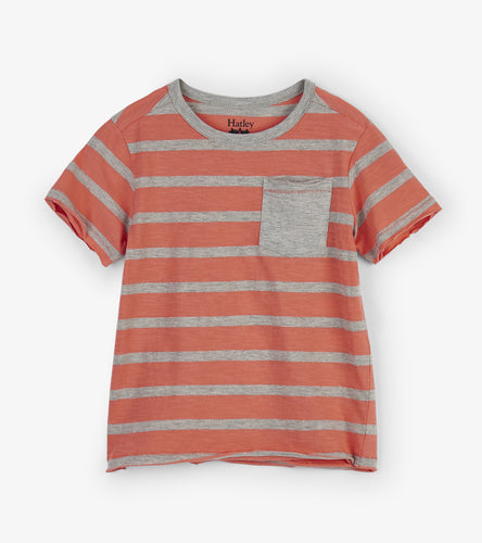 Coral Stripes Graphic Tee