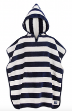 Load image into Gallery viewer, Navy Stripe Hooded Towel