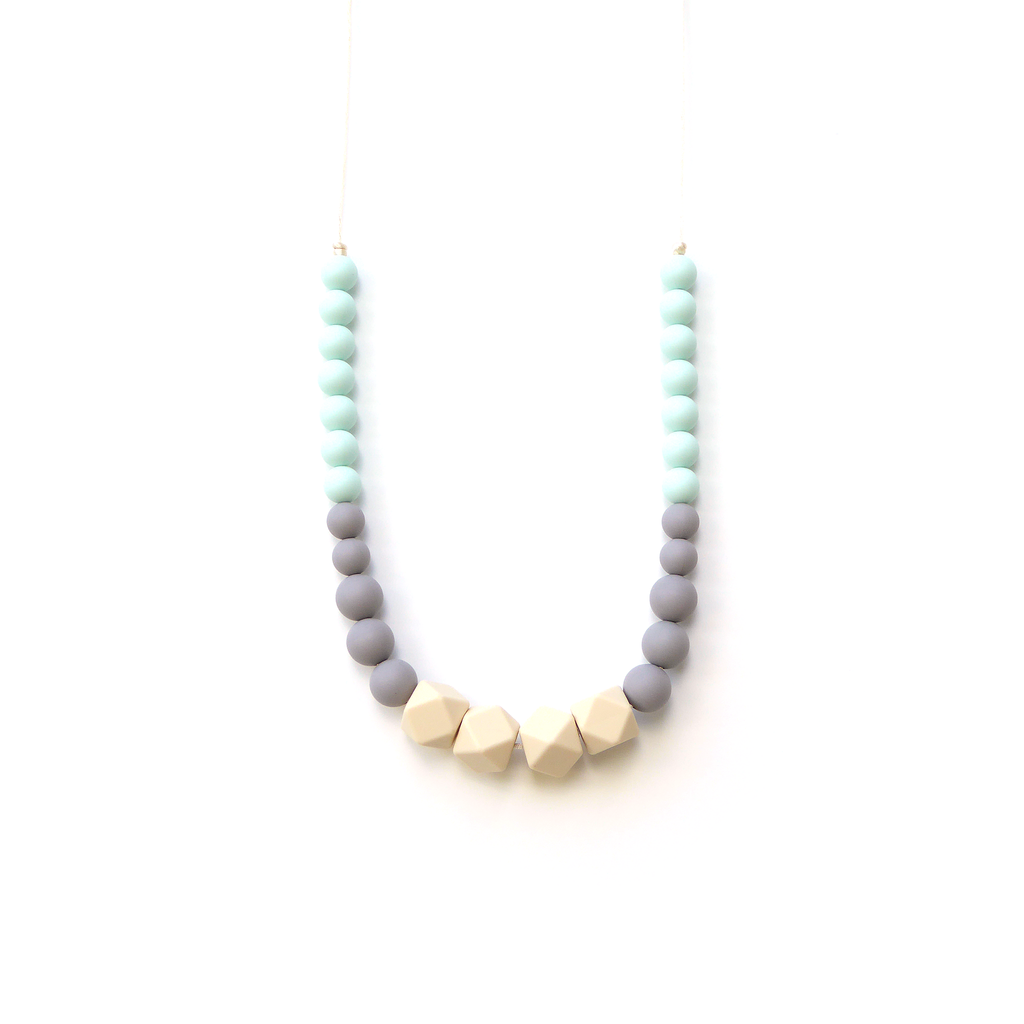 Geo Statement Silicone Teething Necklace - Mint Greige