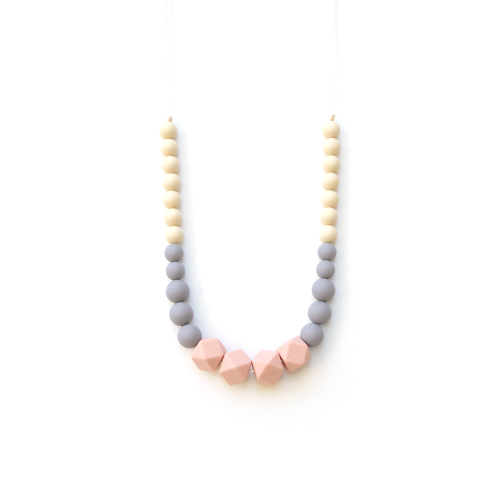 Geo Statement Silicone Teething Necklace - Peach Gray