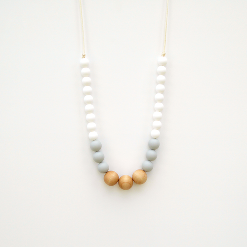 Naturalist Wood + Silicone Necklace - White Gray