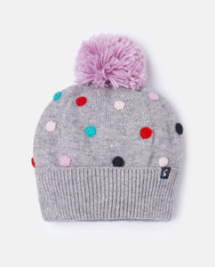 Pom-Pom Knit Hat - Grey Marl