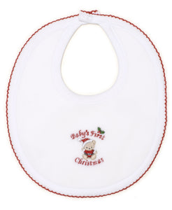 Baby's First Christmas 19 Velour Bib - White/Red