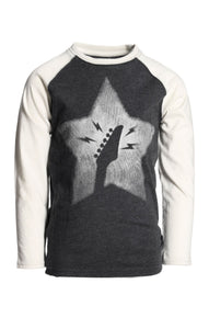 Graphic Raglan Long Sleeve - Heather Black