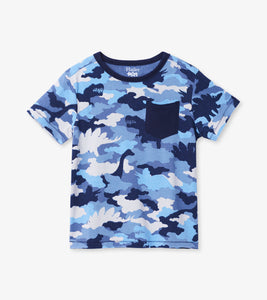 Dino Camo Graphic Front Pocket Tee - Moonlight Blue